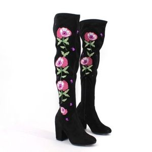 Carlos Santana Embroidered Over The Knee Boots